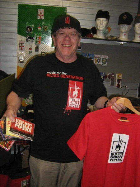 Bob sporting Chilli Pipers merchandise