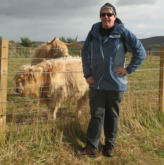 Bob with a couple of coos in Culloden